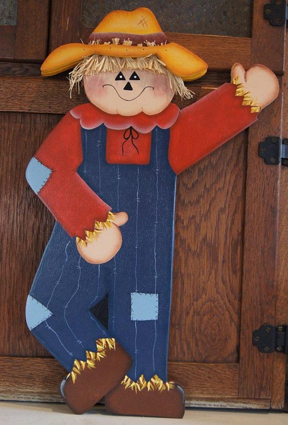 Fall Waving Scarecrow - Wood Welcome Yard Art Sign
