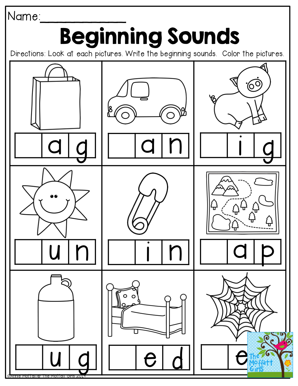 beginning sounds and so many other great printables for back to school kinderland. Black Bedroom Furniture Sets. Home Design Ideas