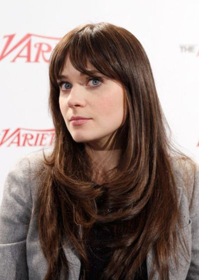 Zooey Deschanel Zooey Deschanel Hair Long Hair With Bangs Hair Styles