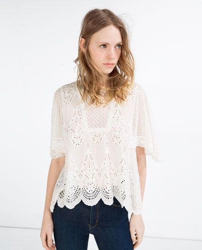 7be7f8cdbfe EMBROIDERED BLOUSE-Blouses-TOPS-WOMAN | ZARA United States | Chic ...