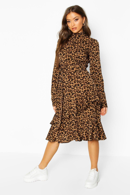 Leopard Print High Neck Ruffle Midi Dress Boohoo In 2020 Midi Ruffle Dress Bodycon Fashion Leopard Print Dress