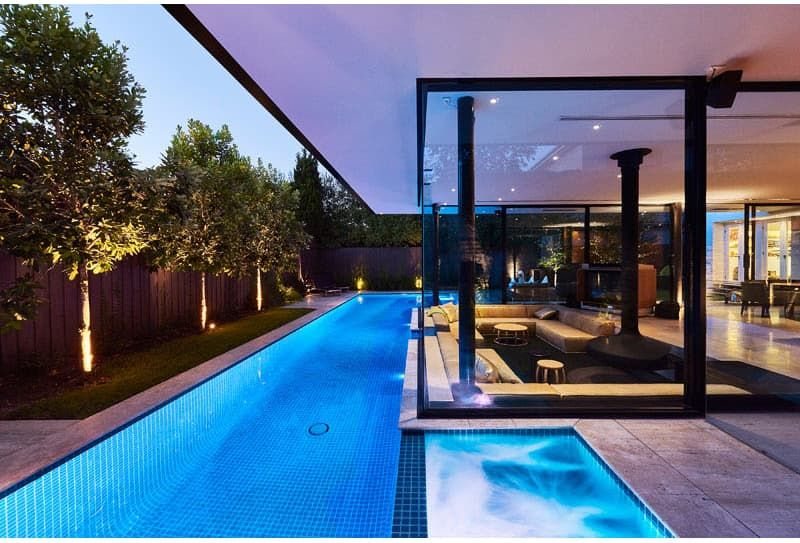 This House Has A Sunken Living Room At Pool Level Swimming Pool House Sunken Living Room Pool House