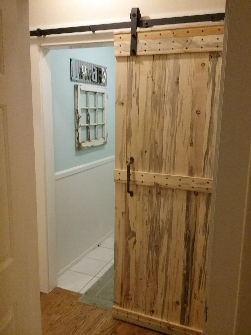 Finally Finished The Barn Door For Our Laundry Room Used N W Beatle Kill Pine Blue Pine Locally Sourced Green Product Svw Sliding Doors Laundry Room Doors