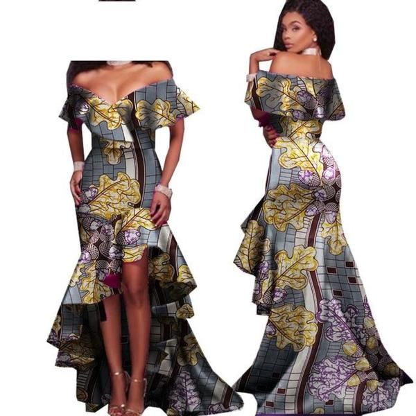 African Style Long Dress For Women Cotton Print Kitenge Ankara Sexy Slash X11398 #africanstyleclothing