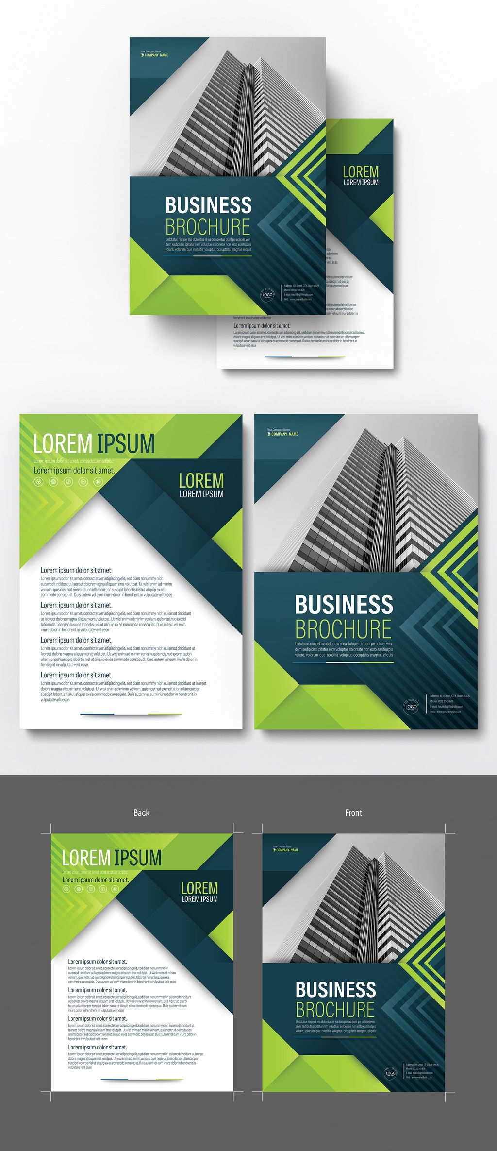 Brochure Cover Layout With Blue And Green Accents   Image