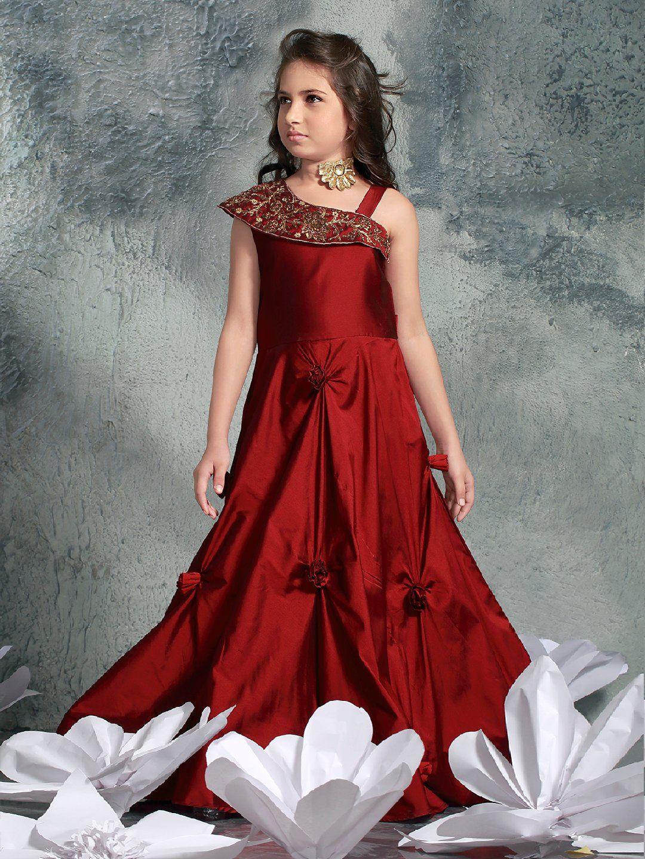 Designer Party Wear Plain Maroon Gown designer gown silk fabric