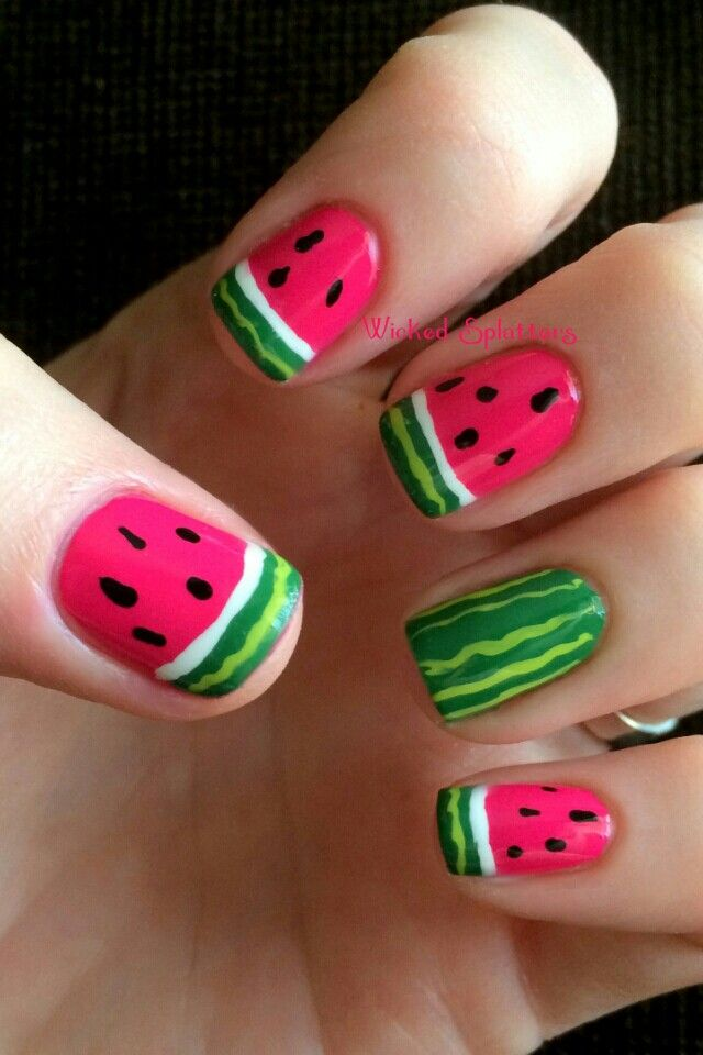 These watermelon nail designs scream summer and they're the cutest things  you'll see all day! - Watermelon Nails Nails♡♥♡ Pinterest Watermelon Nails