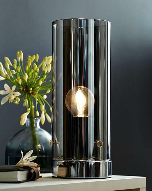 Light Grey Bedside Table: Moody Grey Smoked Glass Table Lamp Chrome Base Home