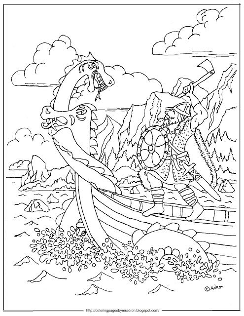 Printable Viking And Sea Serpent Coloring Page Coloring Pages