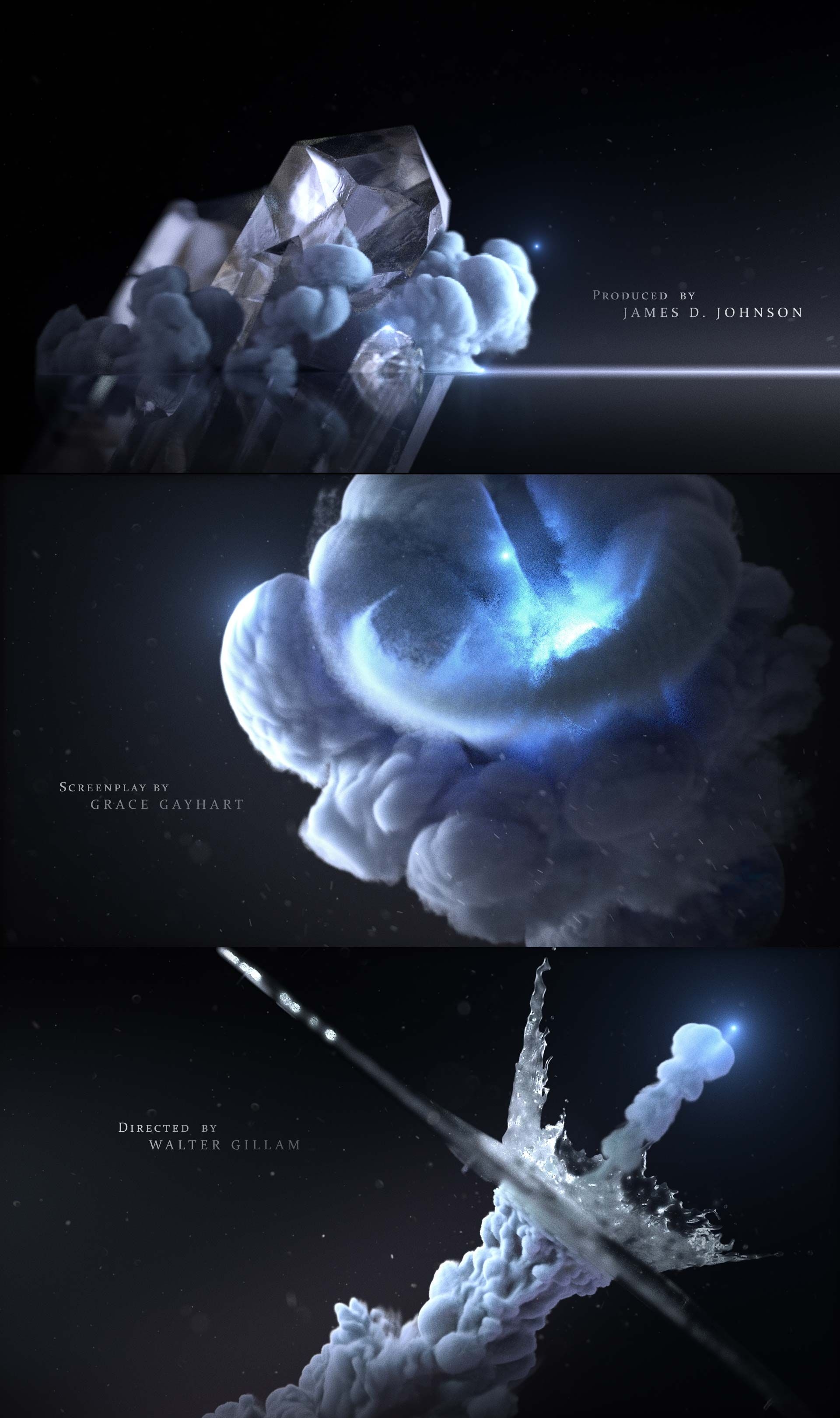 Opening Titles / C4D / Octane / AE / Motion Graphics / Styleframe / Storyboards / Still frames / Moodboards / Styleframes / Main Titles / Smoke / TurbulenceFD / Realflow / www.guillaumecombeaud.com #motiongraphic