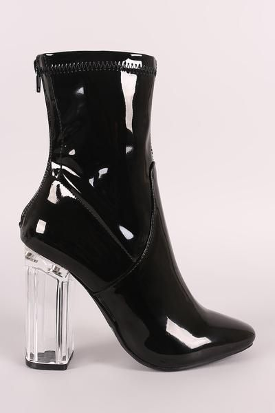 4298f668539 Black Patent Leather Lucite Heels Booties Boots | Booties | Boots ...