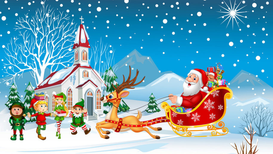 Happy Christmas Santa Claus With His Sleigh With Christmas Gifts Merry Kids Hd Desktop Wallpapers For Tablets And M Happy Christmas Christmas Gifts Santa Claus