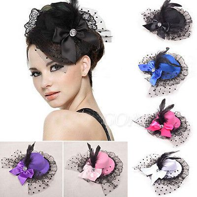New Style Women Bow Hair Clips Lace Feather Mini Top Hat Fancy Fascinator Party