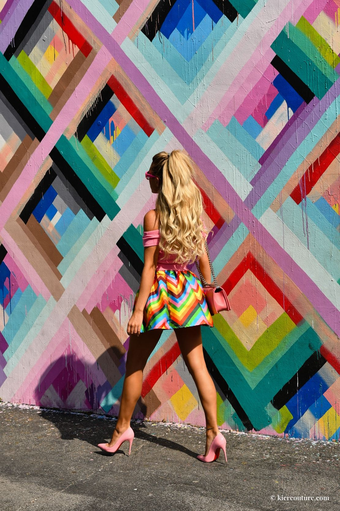 081be7c14609e5 wynwood walls miami: Kier Mellour in Pink barbie outfit with Pink Chevron  Chanel Boy Bag and Pink Louboutin Pumps with Pink Cat eye Kate Spade  Sunglasses ...