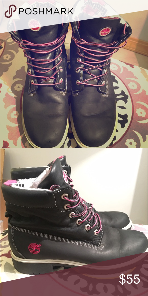Black Timberlands with pink laces