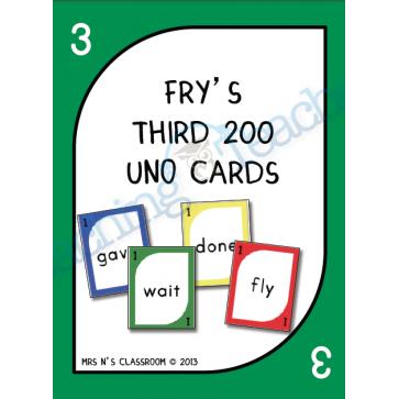 Fry S 3rd 200 Words Uno Cards Word Work Stations Fry Words Kindergarten Word Activities