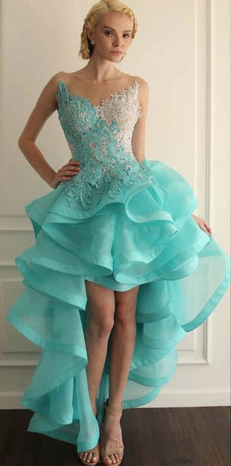 Mint Green Quinceanera Dresses 2016 High Front Low Back Ruffles ...