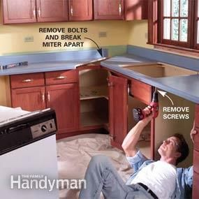 Remove old kitchen counters and install new laminate countertops, then  complete the transformation by installing