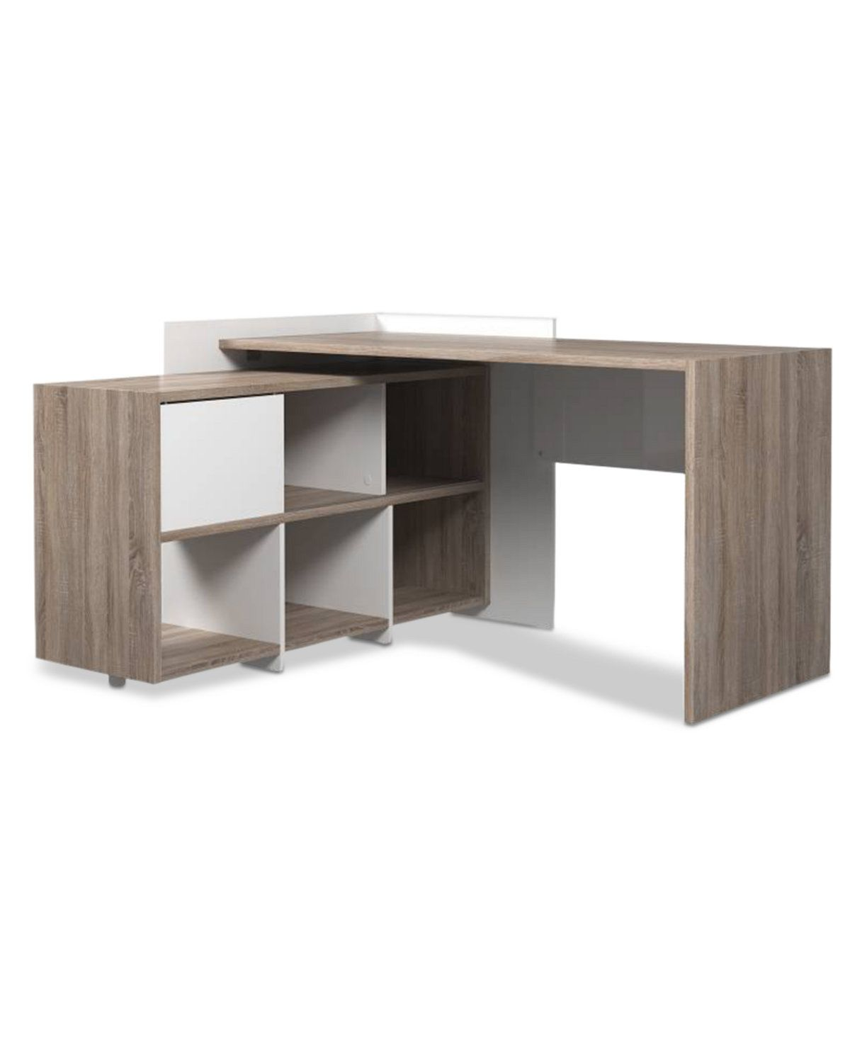 Macy S Desk: Furniture Poline Desk With 6 Shelf Bookcase & Reviews