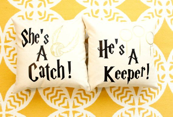Harry Potter She's A Catch & He's A Keeper Pillow by AndersAttic
