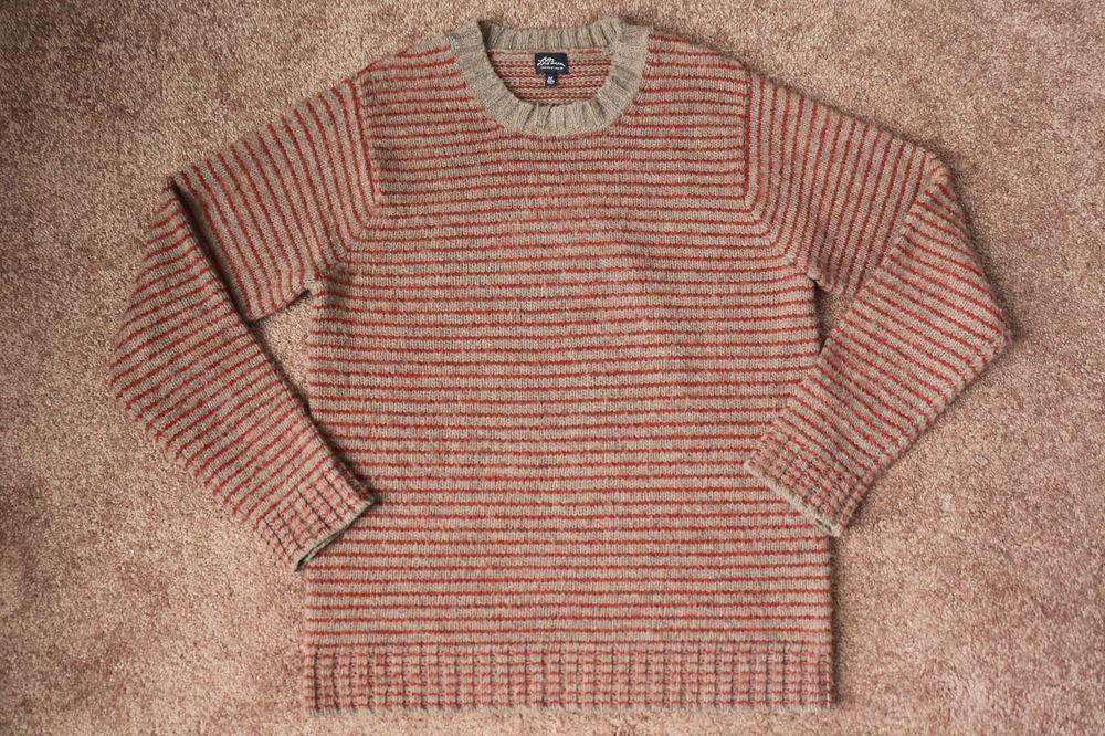 Men's L.L. Bean 100% Lambs Wool Sweater Crew Neck Brown Red Striped M Medium…