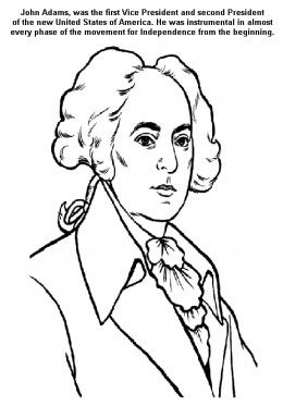 Founding Fathers American Presidents John Adams Kids Coloring