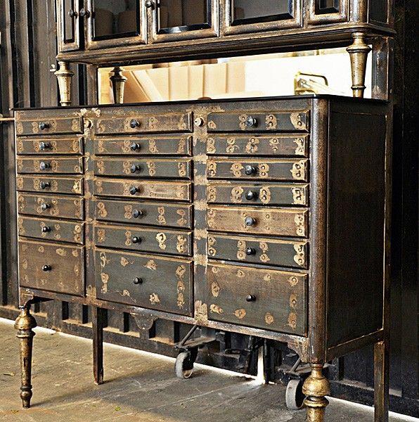 Exceptional Iron Dental Cabinet Circa 1920 Having Five Beveled Glass Doors Over  Twenty One Metal Drawers
