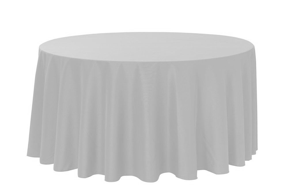 120 Inch Round Polyester Tablecloth Silver White Round Tablecloths White Table Cloth Table Cloth