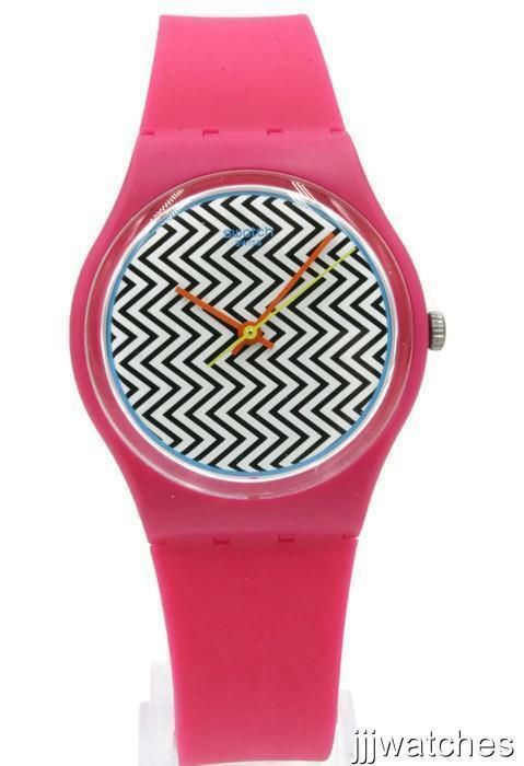 New Swatch Originals PINK FUZZ Silicone Multi Colored Watch