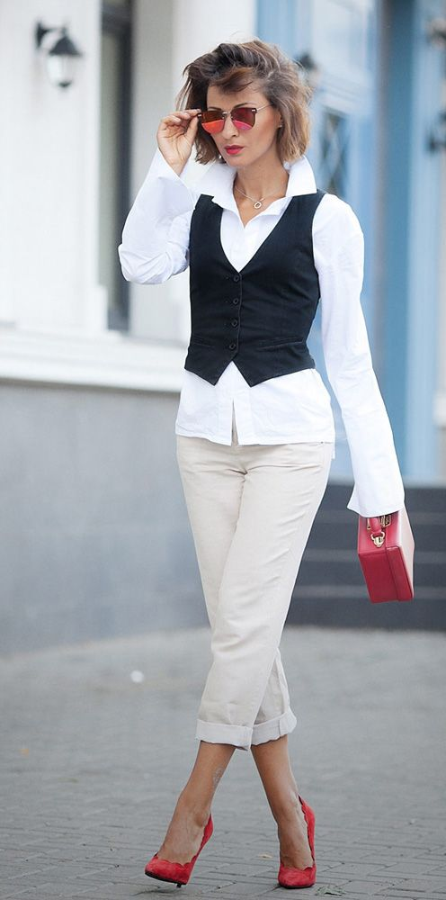 office dress code ideas | suit waistcoat | chino pants | red pumps | mark cross bag | white shirt outfit | ellena galant girl