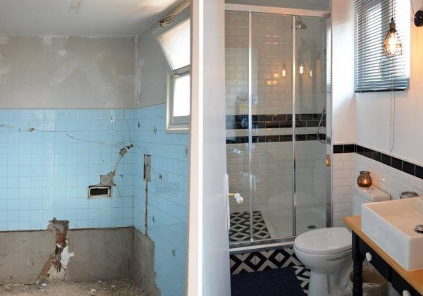 Avant/après : salle de bains au look rétro - Aménager une petite salle de bains #homestagingavantapres
