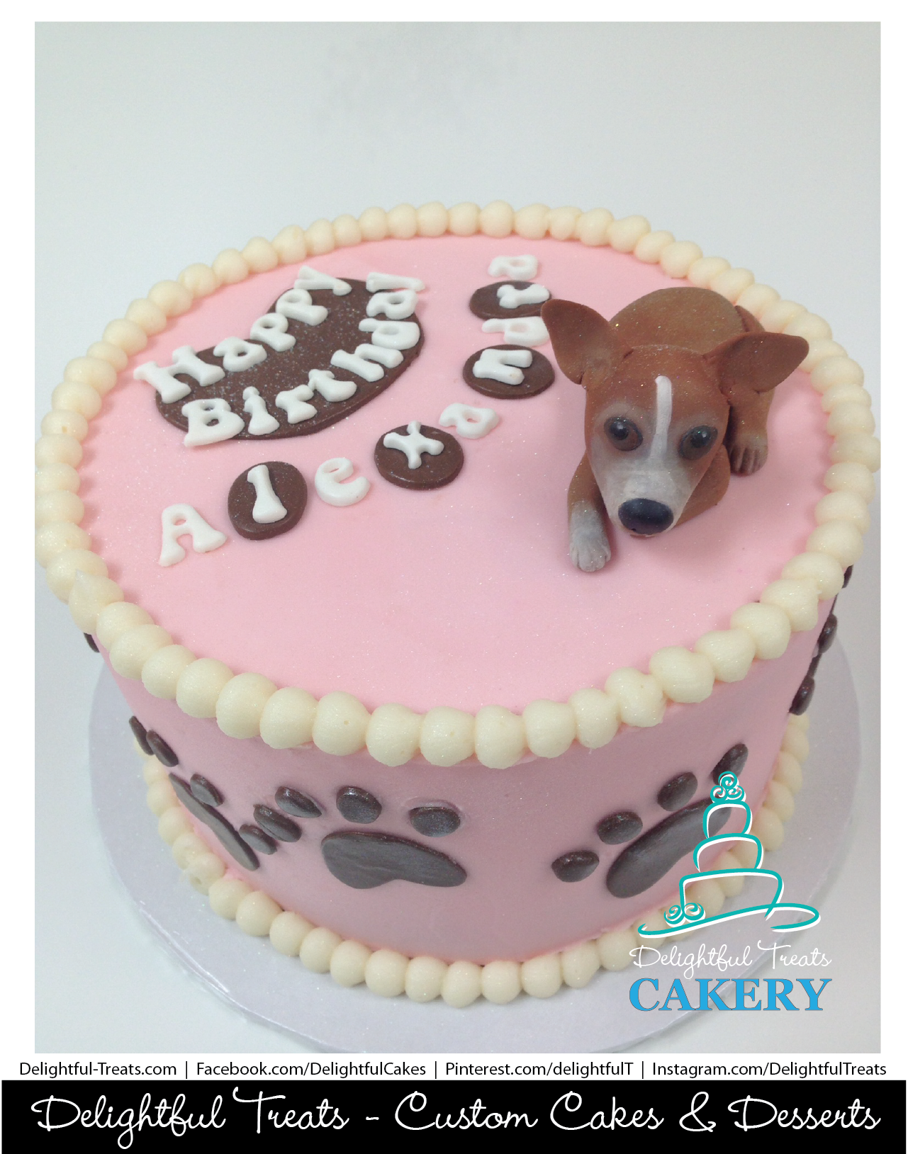 Pink Buttercream Cake With Brown Fondant Paw Prints Custom 3D Edible Gumpaste Chihuahua Topper By Delightful Treats Cakery