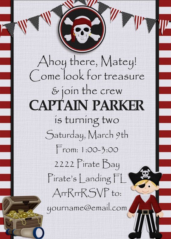 pirate party invitation template custom printable pirate party