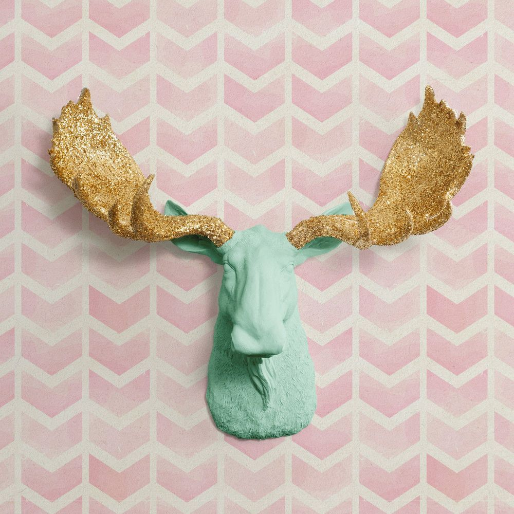 The Alberta Large Mint Green Faux Taxidermy Resin Moose Head Wall Mount Mint Green Moose W Colored Antlers Faux Taxidermy Animal Decor