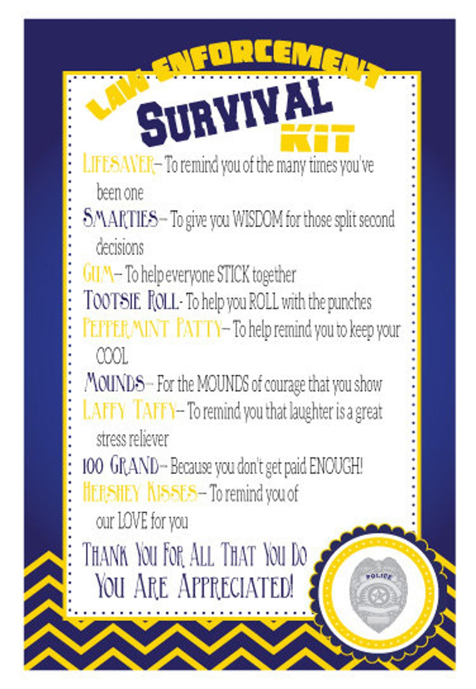 Police Survival Kits, Law Enforcement Gifts, Police Gifts- PDF file Survival Kit- Instant Download