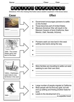 Western Expansion Cause Effect Chart 6th Grade Social