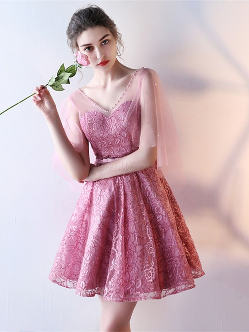 $109.99 Dresswe.com SUPPLIES Short A Line Lace Prom Dress With ...