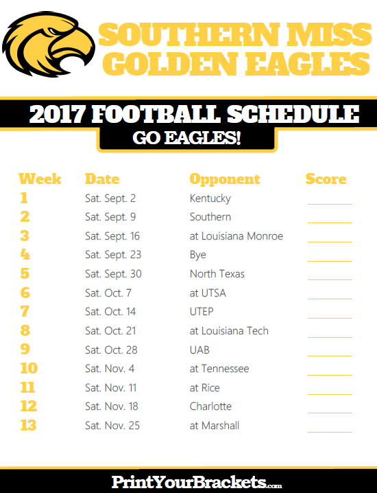 2017 Southern Miss Golden Eagles Football Schedule Printable