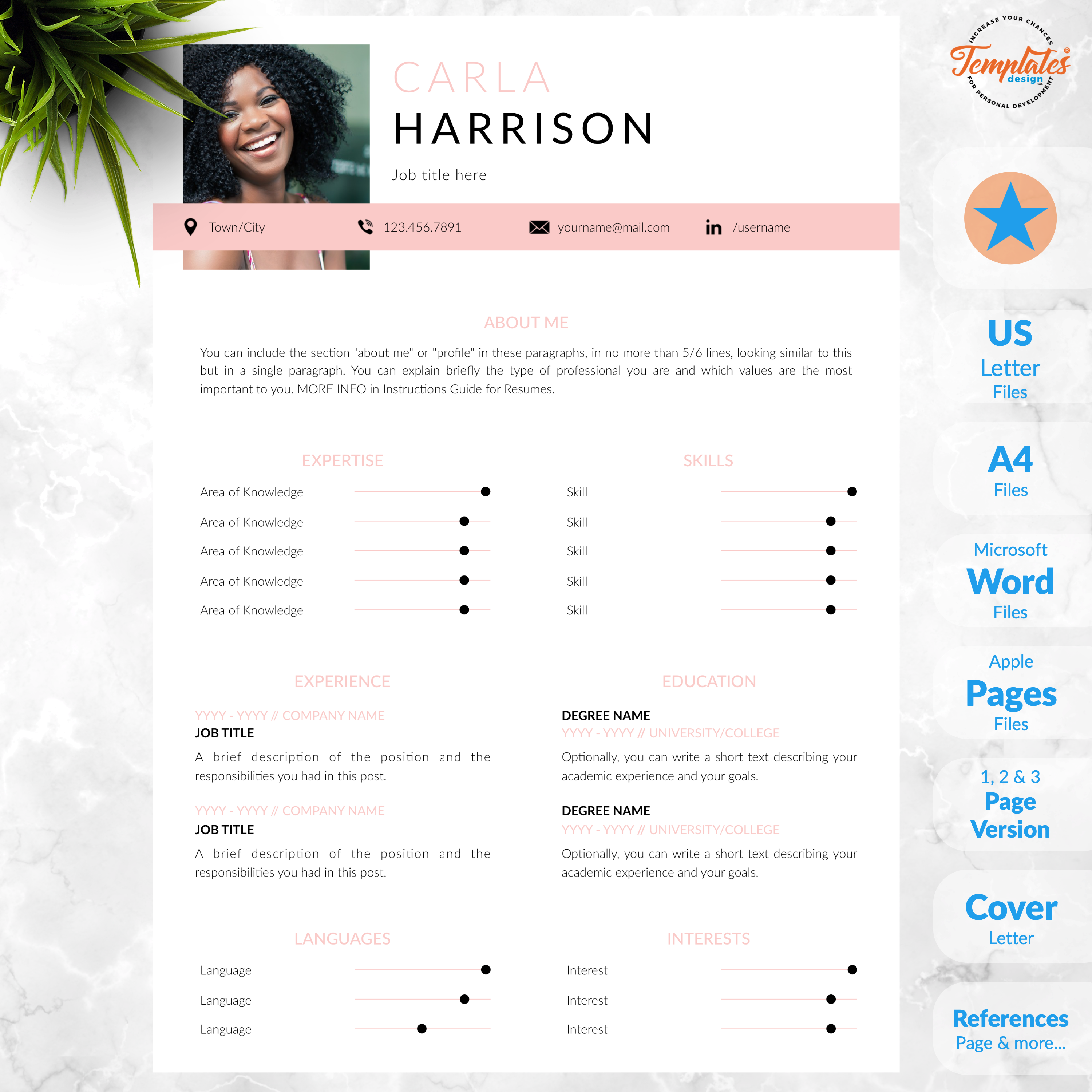 Professional Resume with Photo / Modern CV Template for