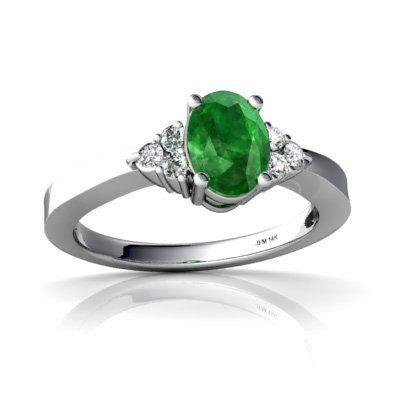 14K White Gold Oval Genuine Emerald Ring