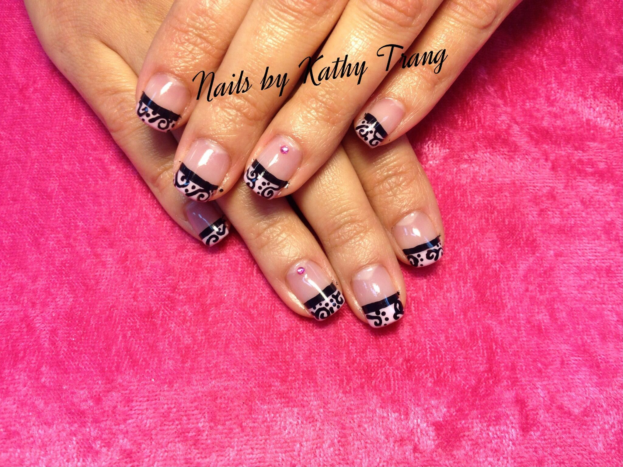 Elegant Pink and Black French twist Nails 2013 | Gel Polish Nails ...