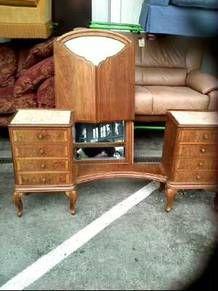 Coiffeuse Bois Marbre Miroir D Occasion Troc Com Dressing Table Wood Mirror