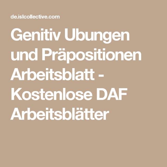 Genitiv Ubungen und Präpositionen Arbeitsblatt - Kostenlose DAF ...