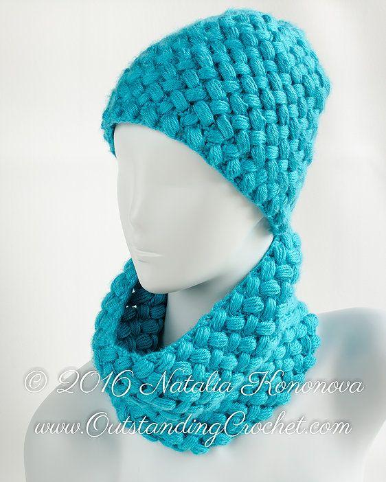 Puff stitch hat and neck-warmer cowl scarf crochet pattern ...