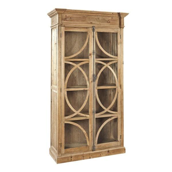 Kamilah Natural Wood Metal Cabinet With Glass Doors