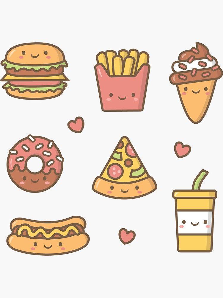 Kawaii Love Junk Food Doodles Sticker By Rustydoodle In 2020