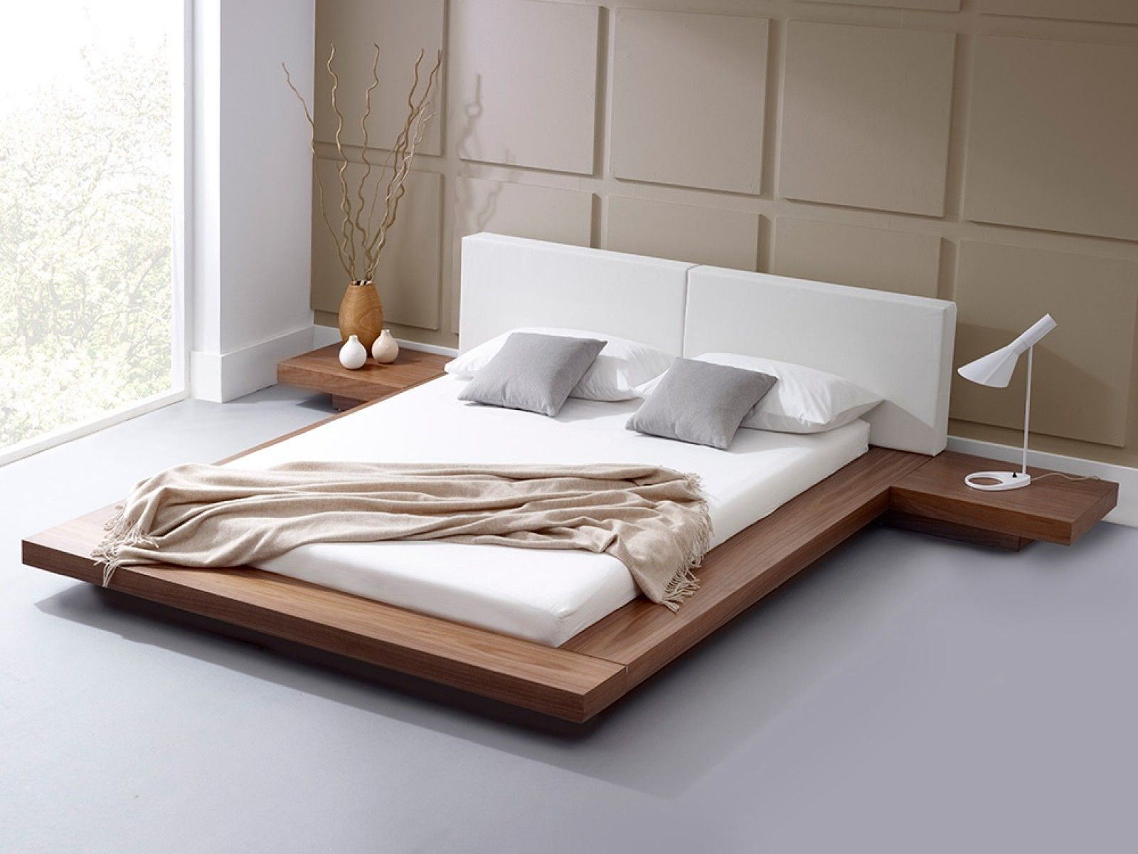 Bedroom | Contemporary Beds | Roma Natural Walnut Bed | Home ...