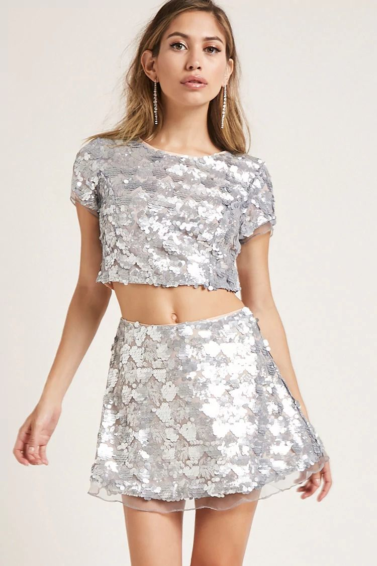 0e1702e70e84df Sequin Crop Top Skirt Set