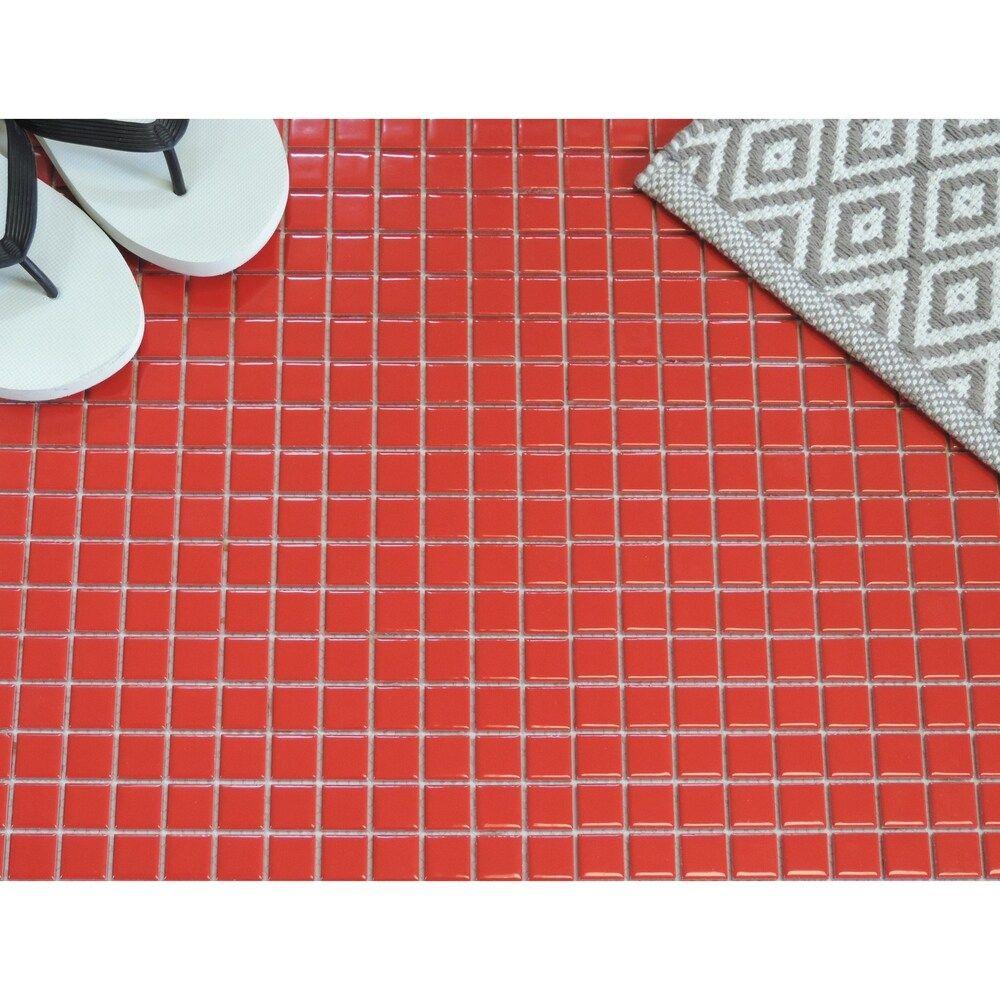 Glazed Porcelain Mosaic Tile Sheet Barcelona 1 X1 Square Glossy Red 12 X 12 Ceramic In 2020 Mosaic Tile Sheets Mosaic Tiles Mosaic Wall Tiles