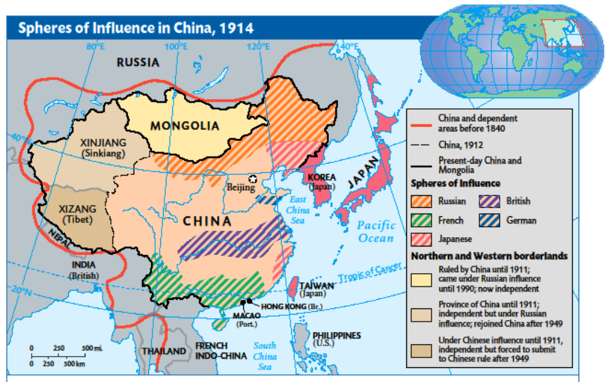 Map Of Asia 1914.1914 Spheres Of Interest Chinese Revolutionary Era Maps Charts